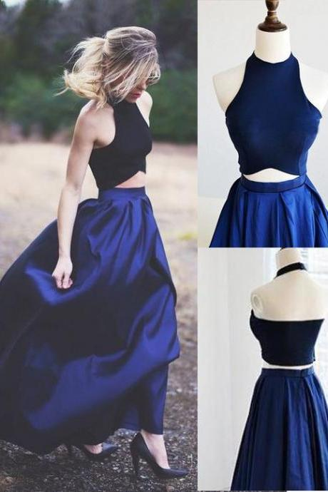 Two-piece Navy Blue Prom Dresses,Halter Prom Dresses,Prom Dresses