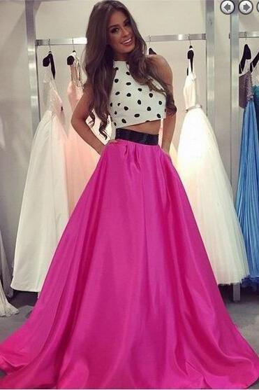 Charming Prom Dress,Two-Pieces Prom Dress,A-Line Prom Dress,Satin Prom Dress,Halter Evening Dress,
