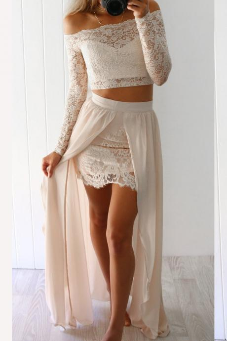 2 Piece Lace Prom Dresses,Long Sleeves Beige Long Prom Dress with Slit 2018